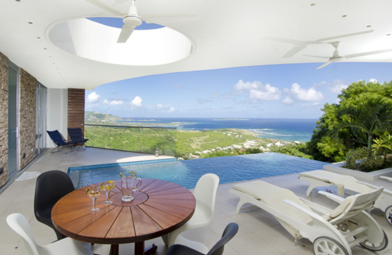 Villa patio and pool at Island Properties Luxury Rentals.