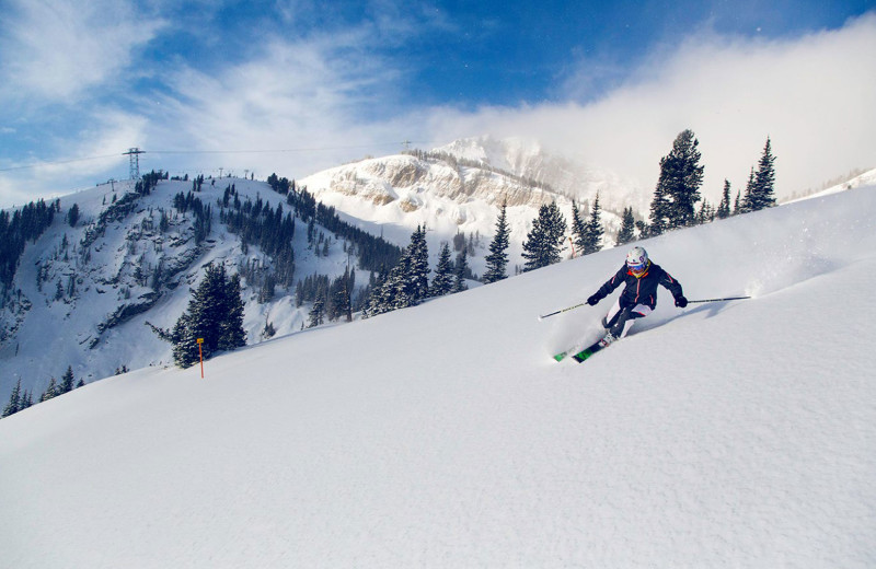 Skiing at Jackson Hole Lodge.