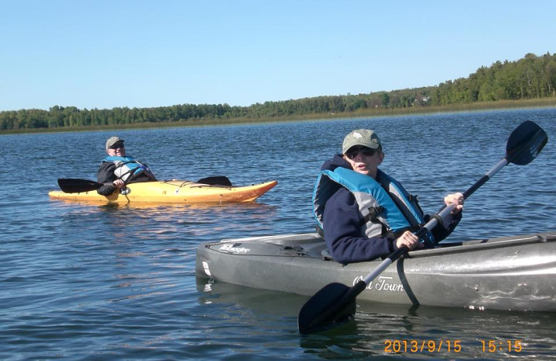 Kayaking at Cedarwild Resort.