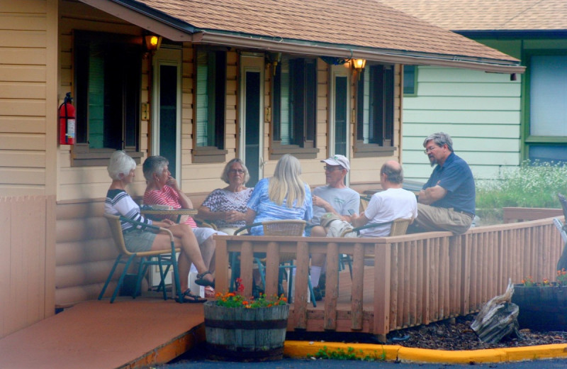 Family on patio at Misty Mountain Lodge.