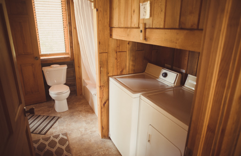 Guest bathroom at Vee Bar Guest Ranch.