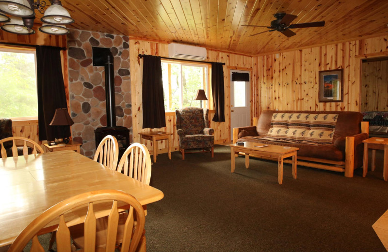 Cabin living room at Pine Terrace Resort.