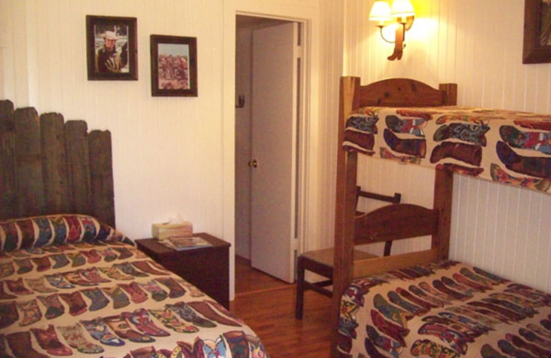 Guest room with bunk bed at Twin Elm Ranch.