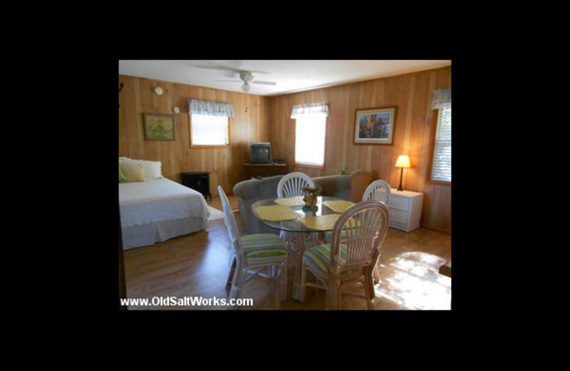 Cabin interior at Old Saltworks Cabins.