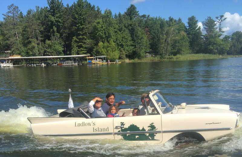 Car boat at Ludlow's Island Resort.