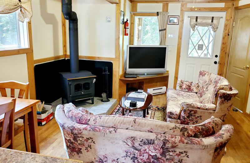 Cottage living room at Expanse Cottages.