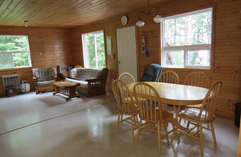 Cabin living room at Clark's Resorts & Outposts.