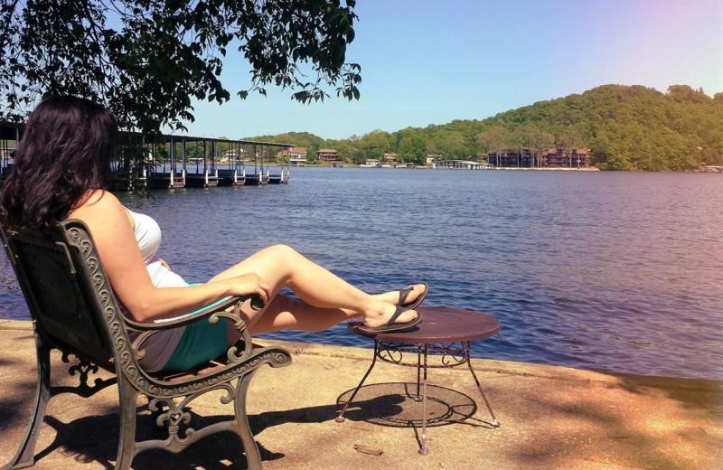 Relaxing by the lake at Hawks Landing Resort.