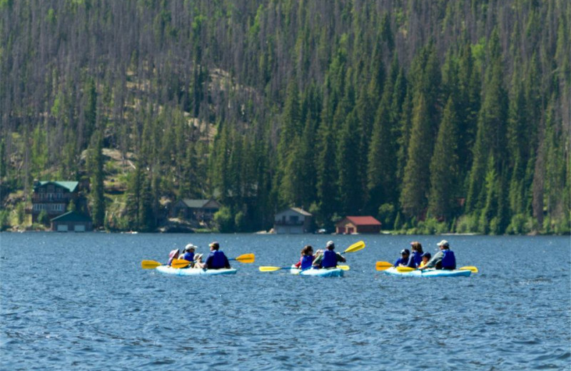 Kayaks available for rental in Grand Lake Village