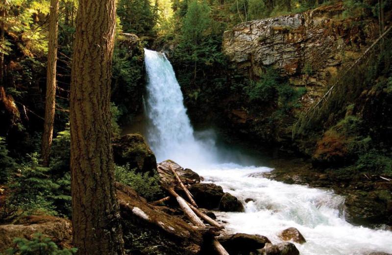 Waterfall at Glacier House Resort.