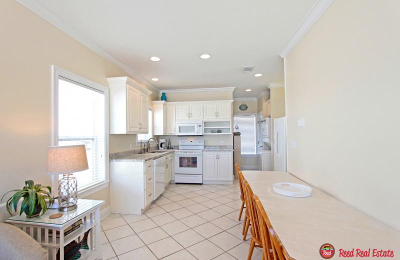 Rental kitchen at Reed Real Estate Vacation Rentals.