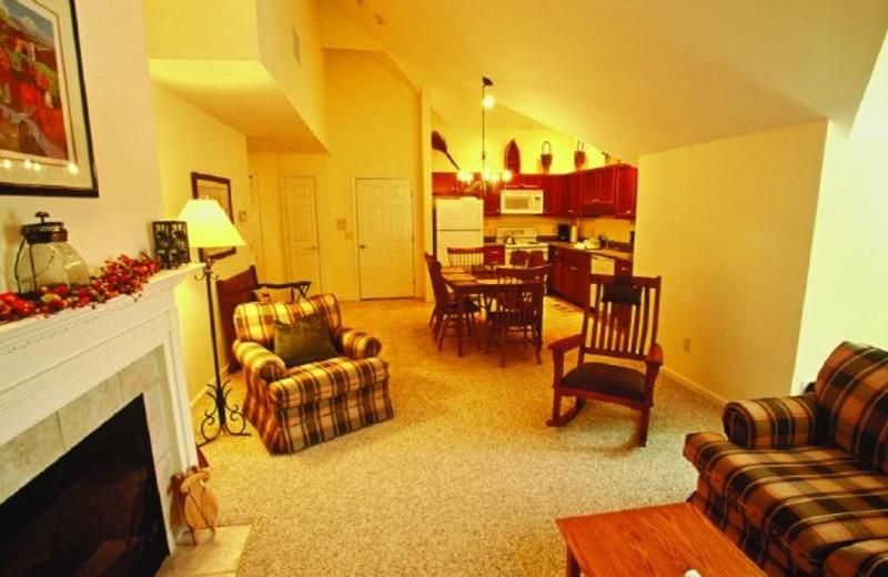 Guest room at Jiminy Peak Mountain Resort.