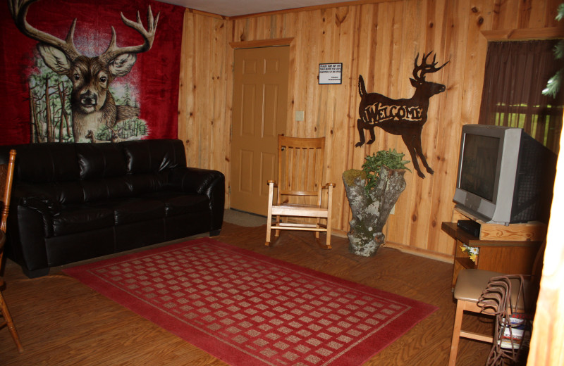 Deer Run interior at Heath Valley Cabins.