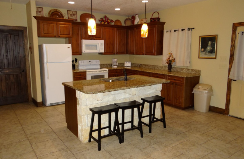 Rental kitchen at Frio River Vacation Rentals.