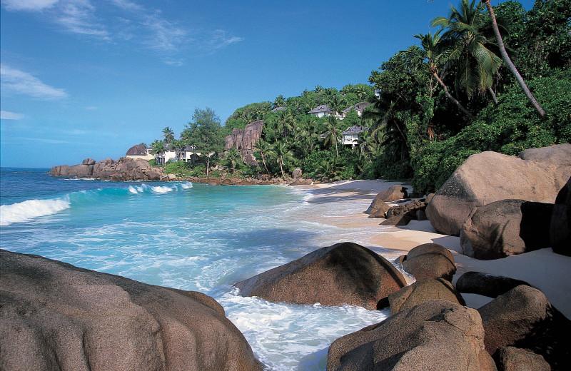 The beach at Banyan Tree Seychelles.