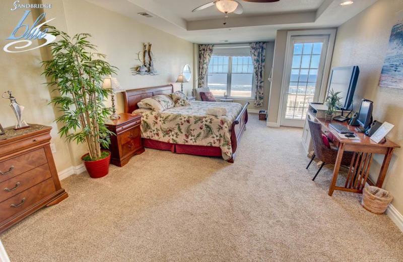 Rental bedroom at Sandbridge Blue Vacation Rentals.