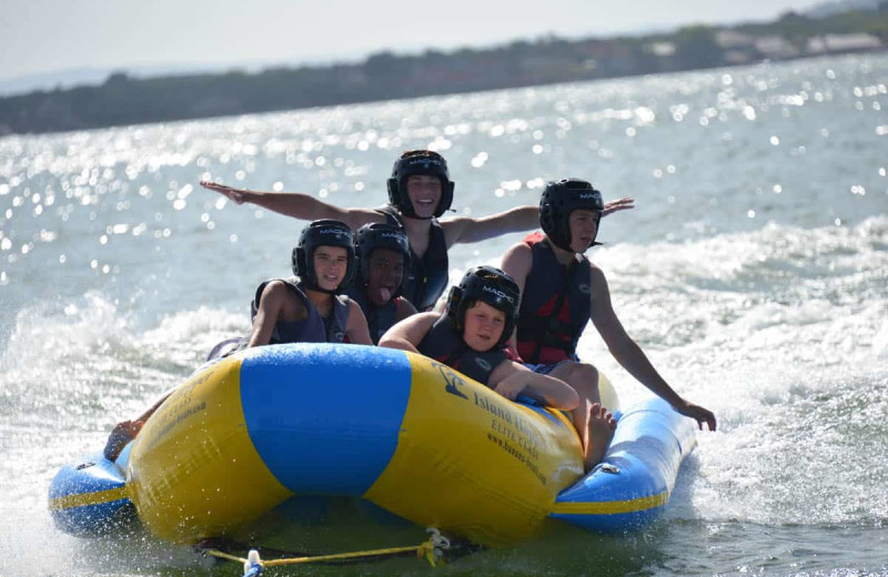 Banana boating at Camp Balcones Spring.