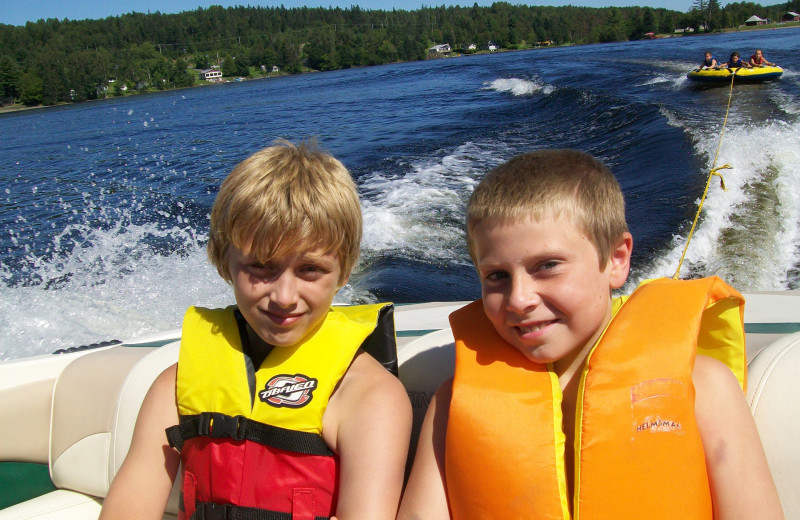 Boating, tubing, water skiing, sailing, stand-up paddle boarding, canoeing & kayaking, all fun-loving pastimes at Jackson's Lodge on international Wallace Pond, Canaan, Vermont.