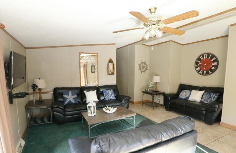 Cabin living room at Island Club Rentals.