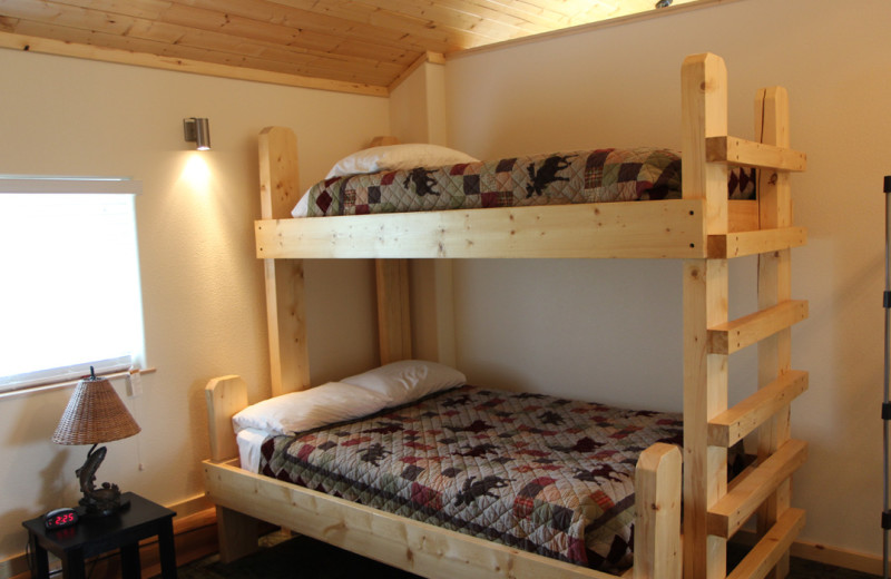 Guest bunk beds at Salmon Catcher Lodge.