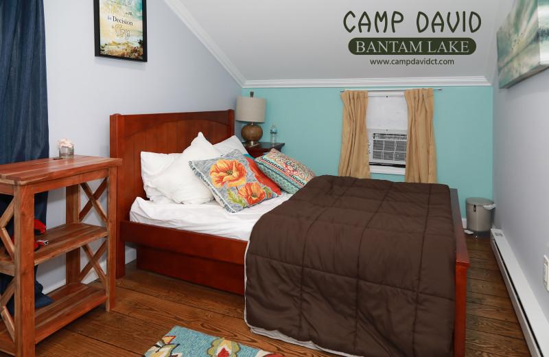 Cottage bedroom at Camp David Bantam Lake.