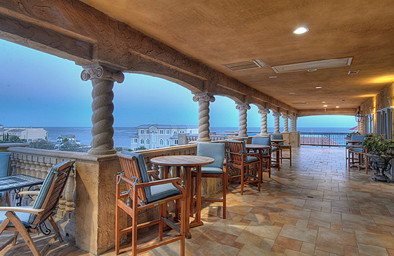 Patio With High Tables at Ocean Lodge