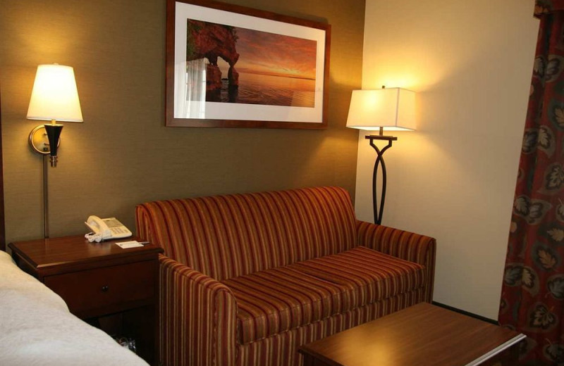 Guest sofa at Hampton Inn Duluth.
