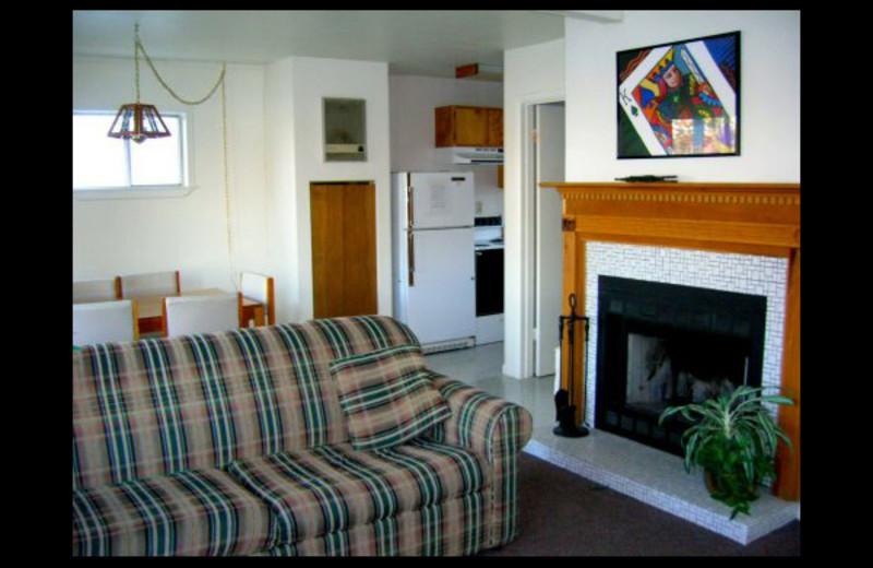 Cabin interior at Lighthouse Lodge Resort.