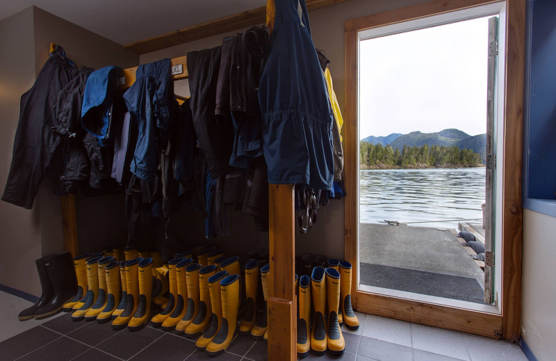 Fishing gear at Nootka Wilderness Lodge.