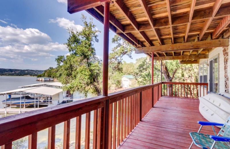 Deck view at Moores Hidden Cove Retreat.
