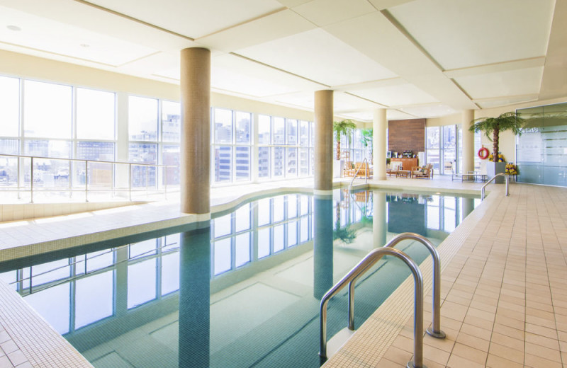 Indoor pool at Hotel Le Crystal Montreal.