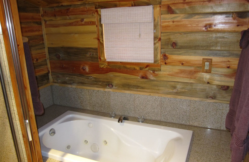 Cabin bathtub at Amberwood.