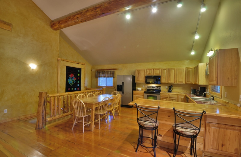 This is the kitchen inside the Ridgetop Retreat located only 1/2 mile from Glacier National Park