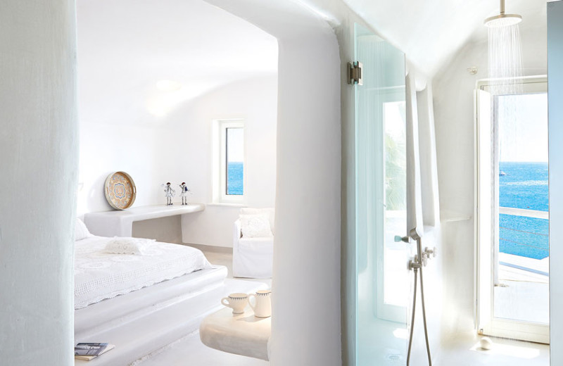 Guest room at Grecotel Mykonos Blu.