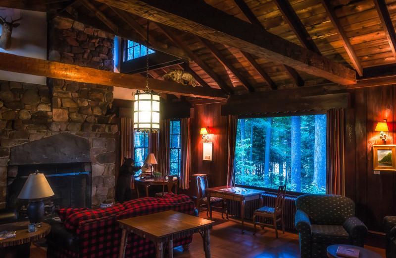 Lodge interior at White Pine Camp.