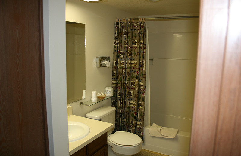Guest bathroom at Flaming Gorge Lodge.