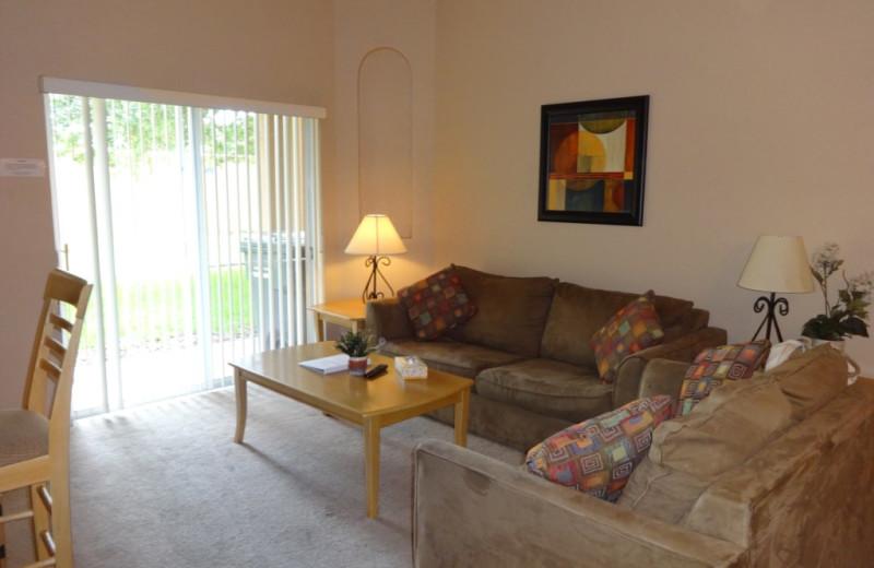 Rental living room at Orlando Sunshine Villas.