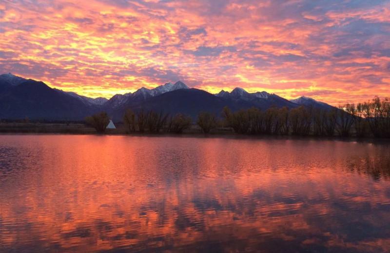 Sunset at Ninepipes Lodge.