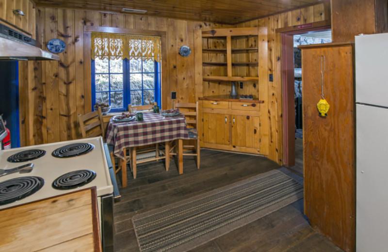 Cabin kitchen at Rocky Mountain Lodge & Cabins.