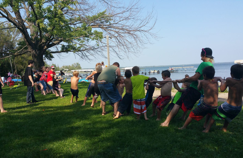 Family games at Bladow Beach Resort & Campground.