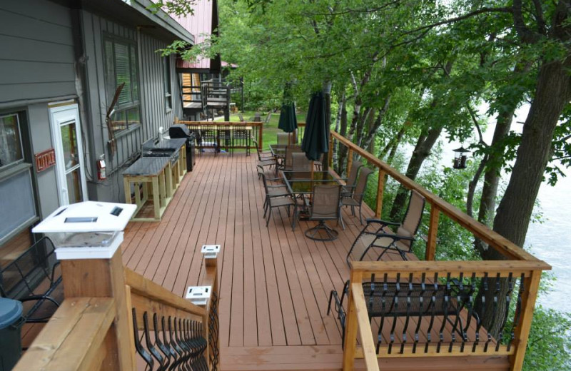 Deck view at Curriers Lakeview Lodge.