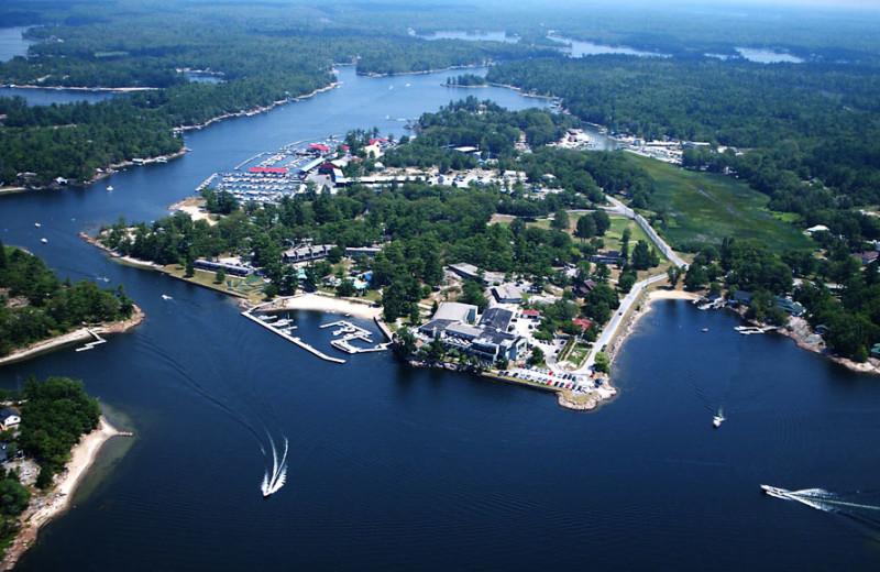 Aerial view of Delawana Resort.