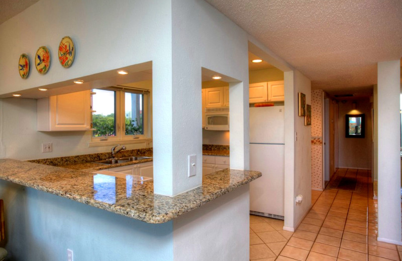 Rental kitchen at Sand Cay Beach Resort.