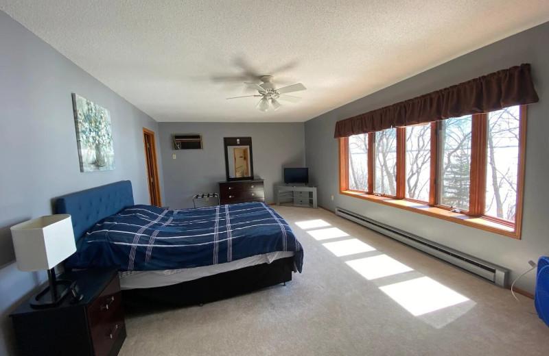 Rental bedroom at Lakes Area Rentals.