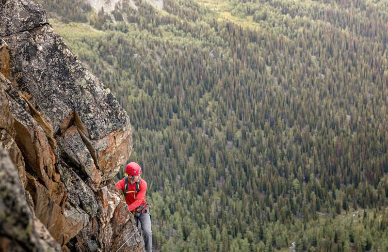 Mountain climbing at Bugaboos Lodge.