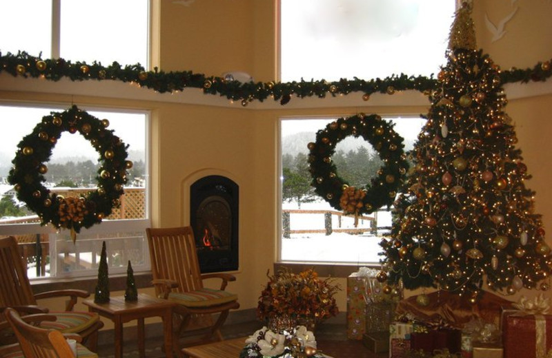 Christmas time at Hallmark Resort in Cannon Beach.