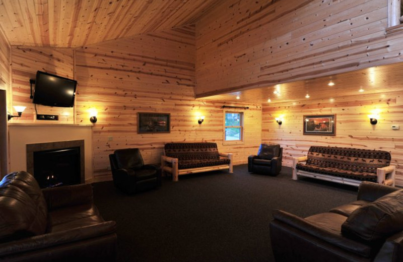 Cabin living room at Cedar Valley Resort.