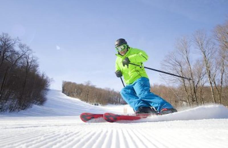 Snowboarding at The Porches Inn.