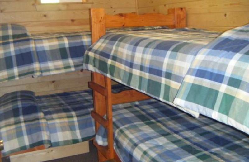 Cabin bedroom at Silver Beach Resort.