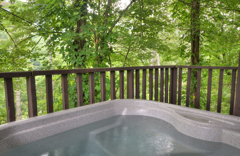 Cabin hot tub at Nantahala Village.